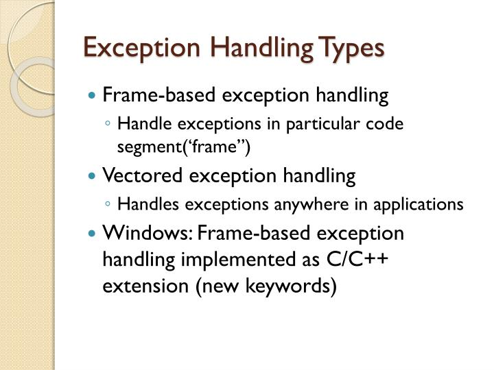 Exception Handling Types
