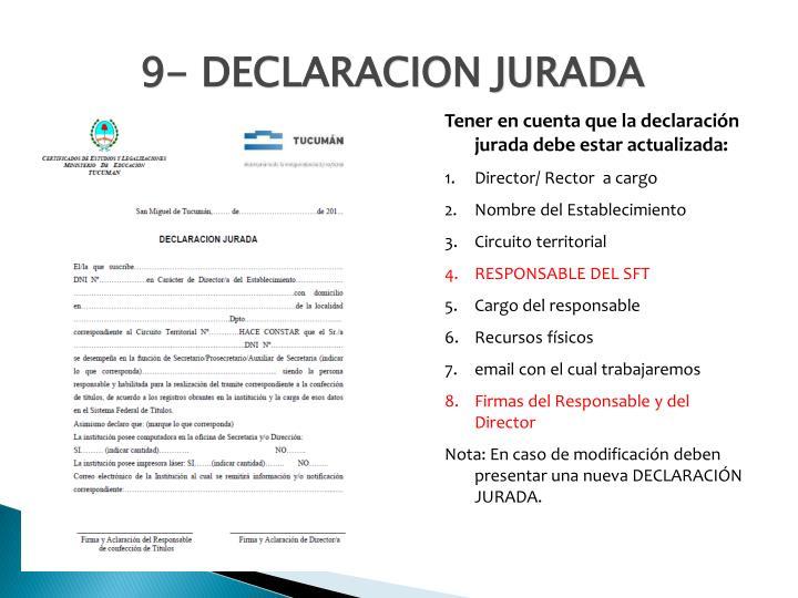 9- DECLARACION JURADA