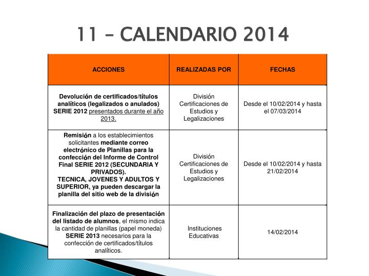 11 – CALENDARIO 2014