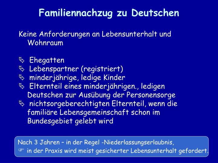 Familiennachzug zu Deutschen