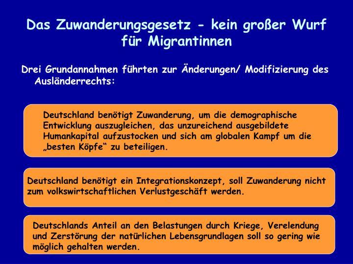 Das Zuwanderungsgesetz - kein großer Wurf für Migrantinnen