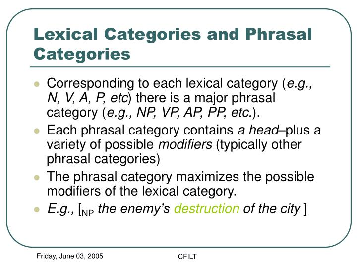 Lexical Categories and Phrasal Categories