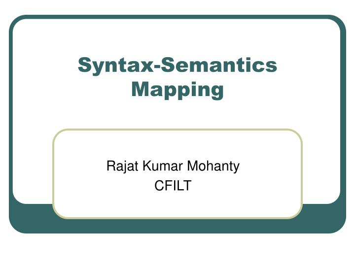 syntax semantics mapping