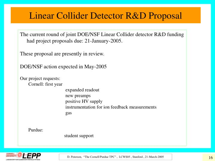 Linear Collider Detector R&D Proposal