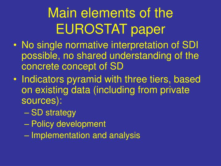 Main elements of the EUROSTAT paper