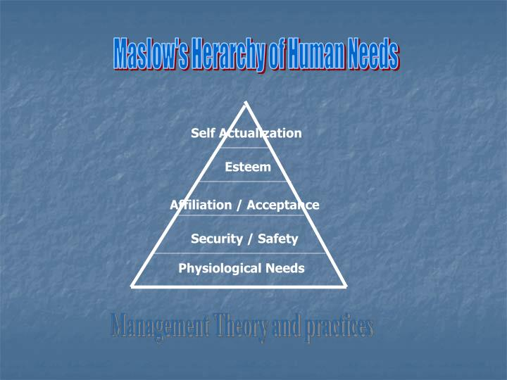 Maslow's Herarchy of Human Needs