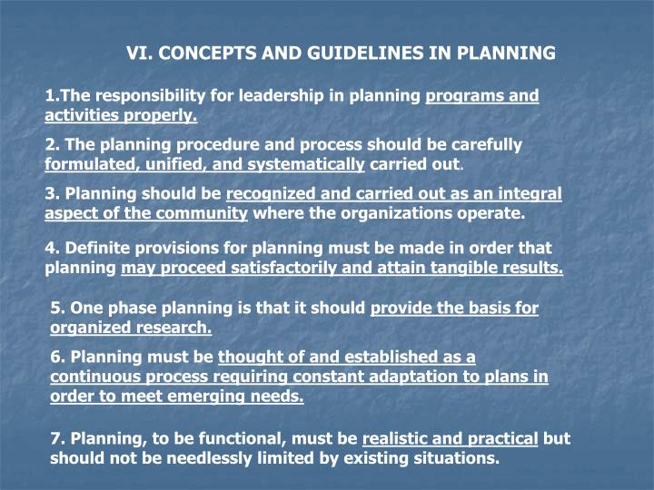 VI. CONCEPTS AND GUIDELINES IN PLANNING