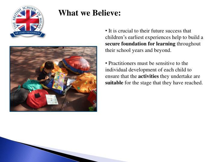 What we Believe: