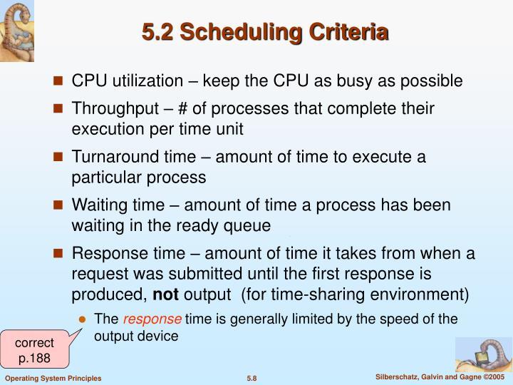 5.2 Scheduling Criteria