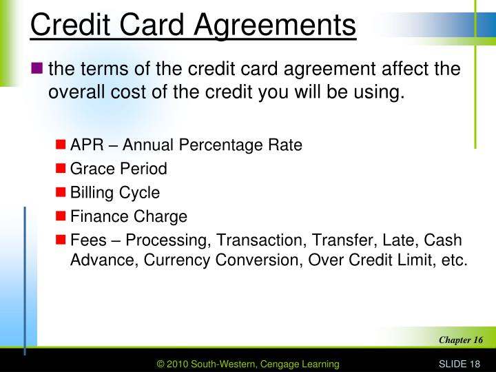 Credit Card Agreements