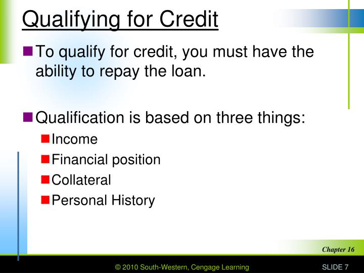 Qualifying for Credit