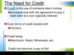 the need for credit