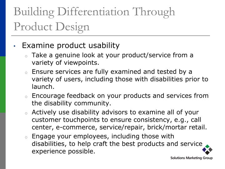 Building Differentiation Through Product Design