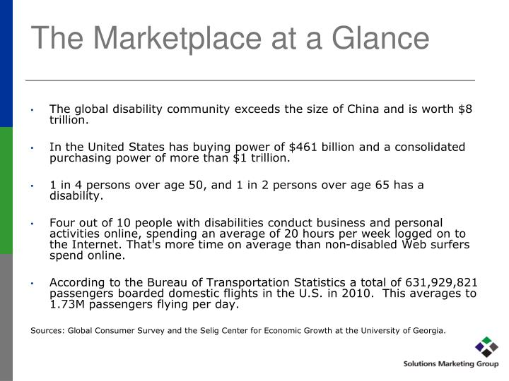 The Marketplace at a Glance