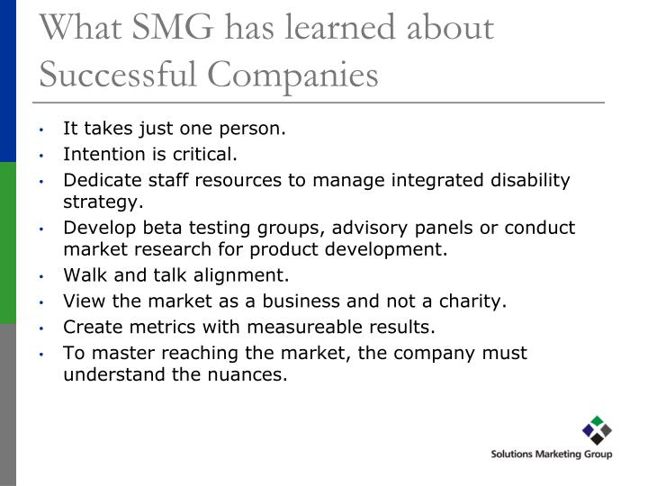 What SMG has learned about Successful Companies