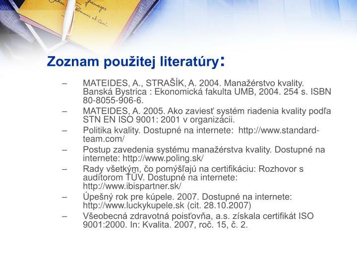 Zoznam použitej literatúry