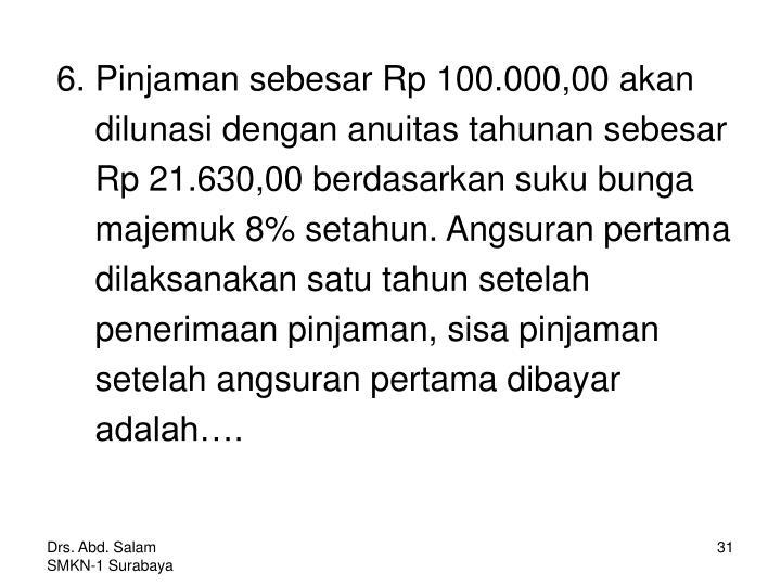 6. Pinjaman sebesar Rp 100.000,00 akan