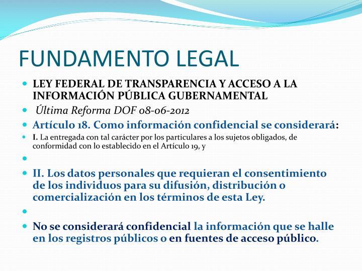FUNDAMENTO LEGAL