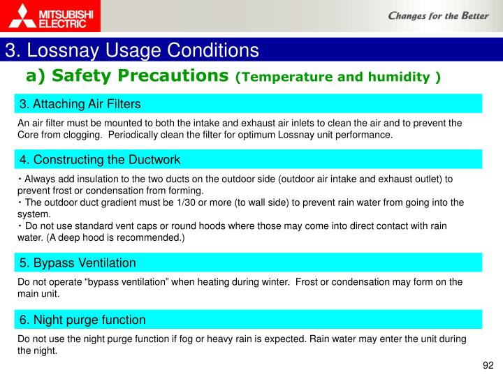 3. Lossnay Usage Conditions