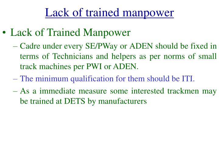 Lack of trained manpower