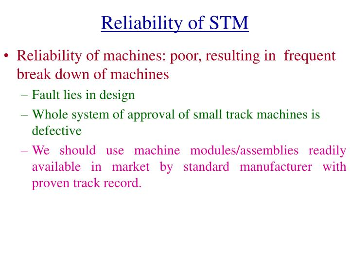 Reliability of STM
