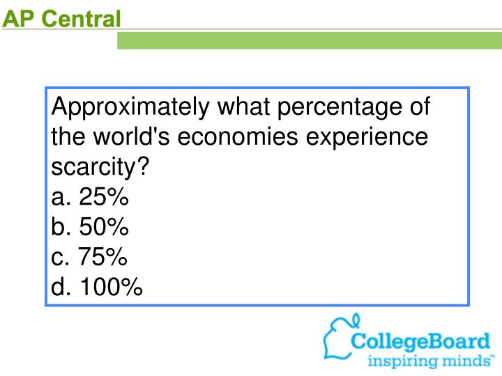 Approximately what percentage of the world's economies experience scarcity?