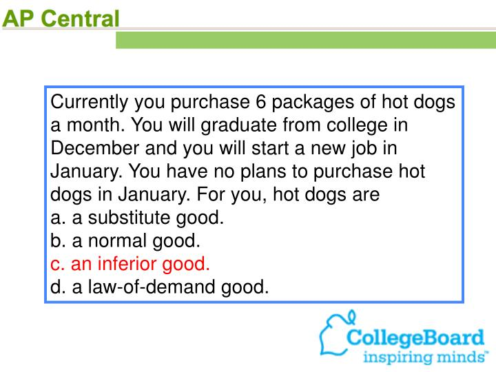 Currently you purchase 6 packages of hot dogs a month. You will graduate from college in December and you will start a new job in January. You have no plans to purchase hot dogs in January. For you, hot dogs are