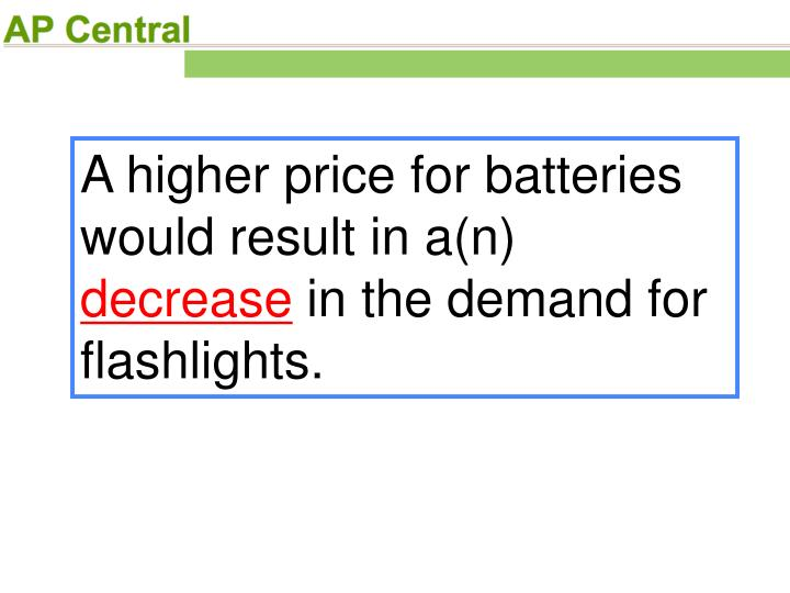 A higher price for batteries would result in a(n)