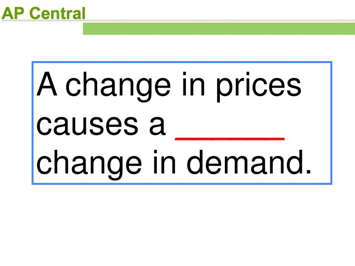 A change in prices causes a