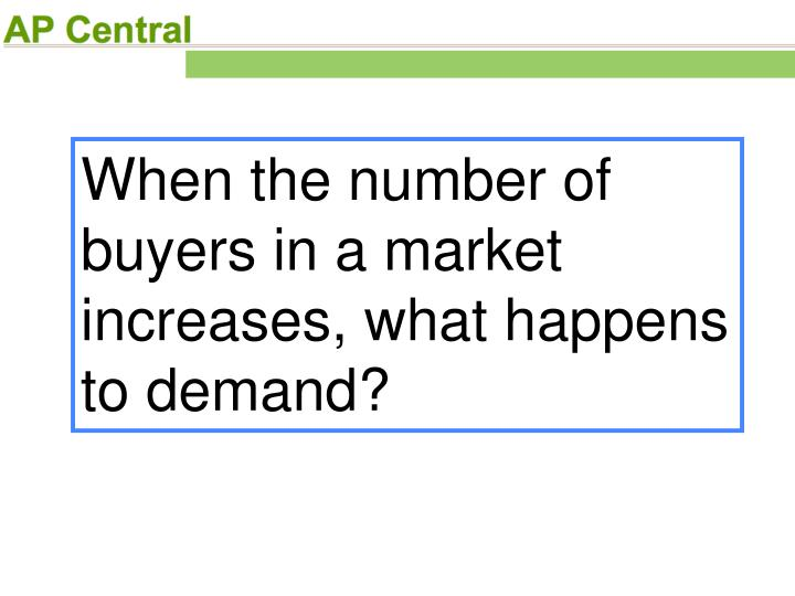 When the number of buyers in a market increases, what happens to demand?