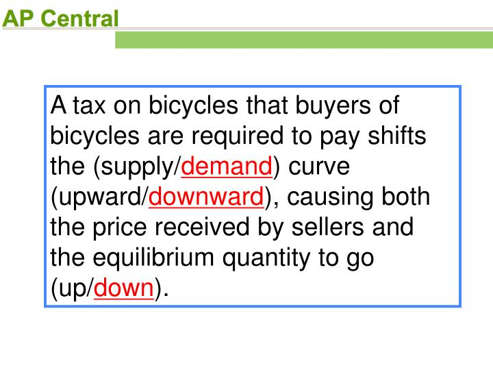 A tax on bicycles that buyers of bicycles are required to pay shifts the (supply/