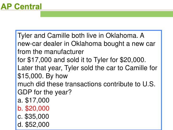 Tyler and Camille both live in Oklahoma. A new-car dealer in Oklahoma bought a new car from the manufacturer