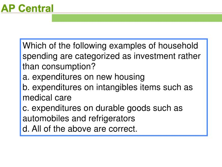 Which of the following examples of household spending are categorized as investment rather than consumption?