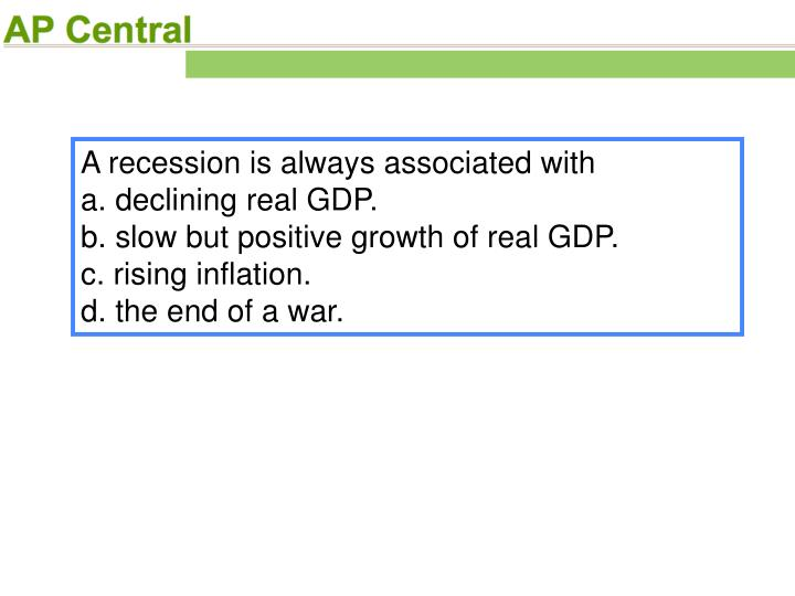 A recession is always associated with