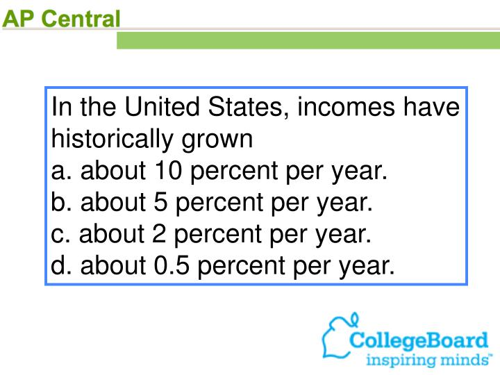 In the United States, incomes have historically grown