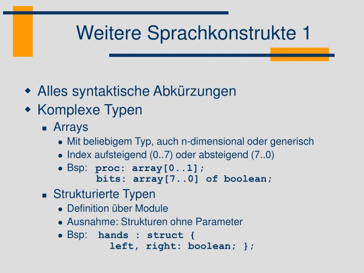 Weitere Sprachkonstrukte 1