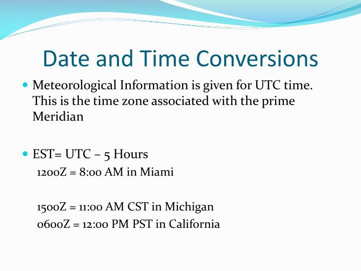 Date and Time Conversions