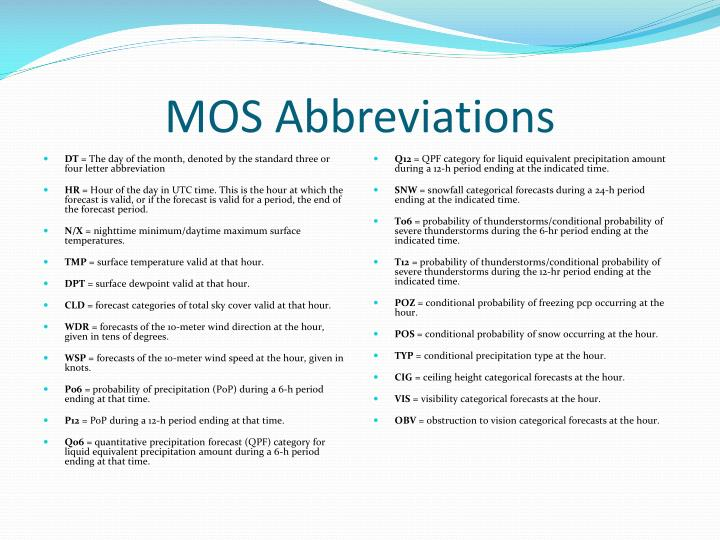 MOS Abbreviations