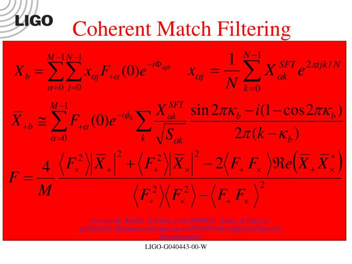 Coherent Match Filtering