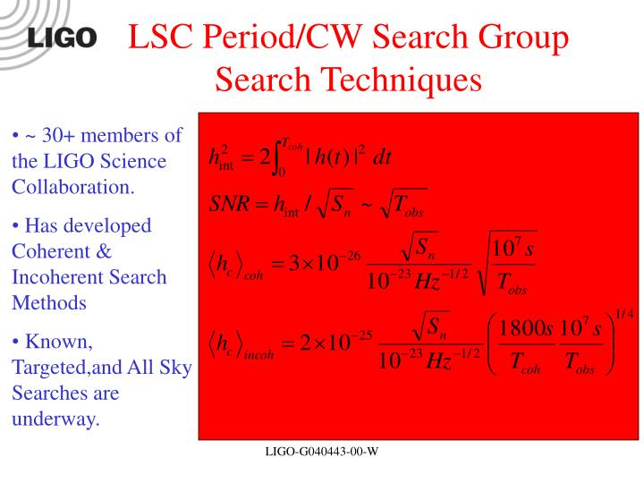 LSC Period/CW Search Group