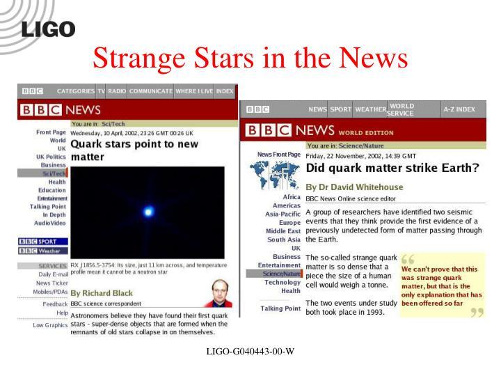 Strange Stars in the News
