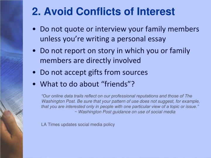 2. Avoid Conflicts of Interest