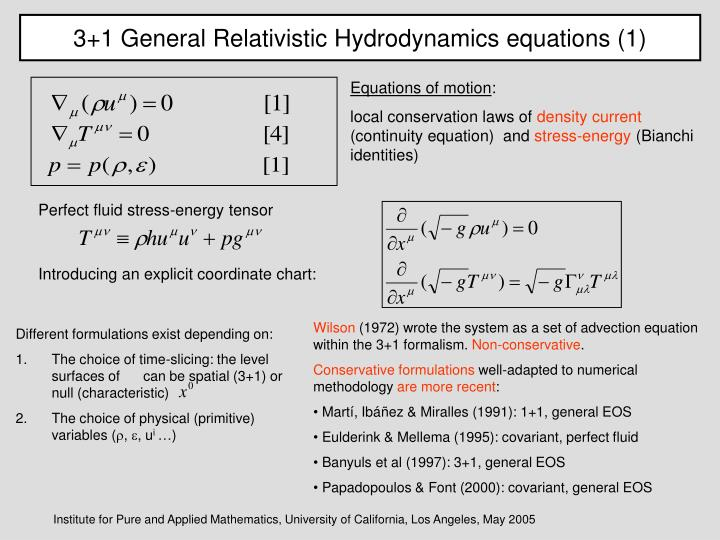 3+1 General Relativistic Hydrodynamics equations (1)