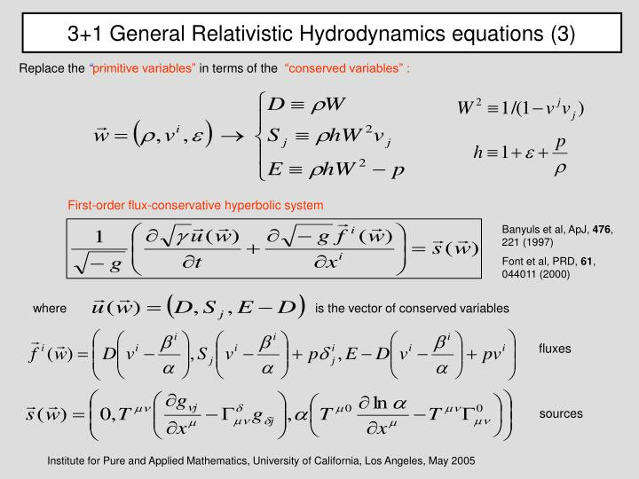 3+1 General Relativistic Hydrodynamics equations (3)