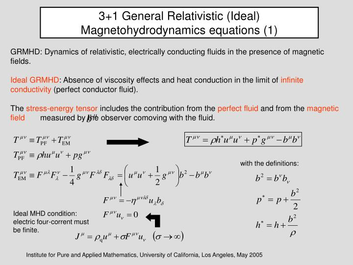 3+1 General Relativistic (Ideal) Magnetohydrodynamics equations (1)