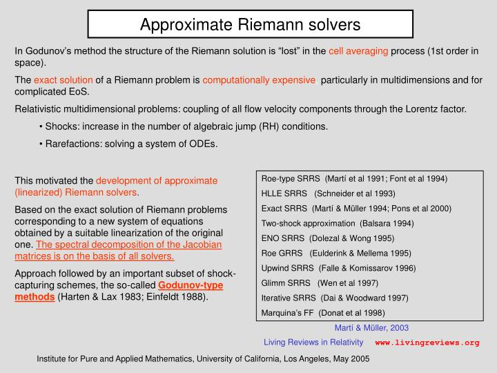 Approximate Riemann solvers