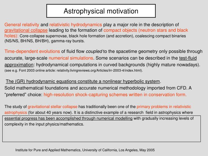 Astrophysical motivation