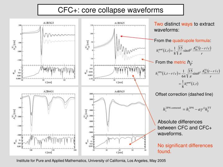 CFC+: core collapse waveforms