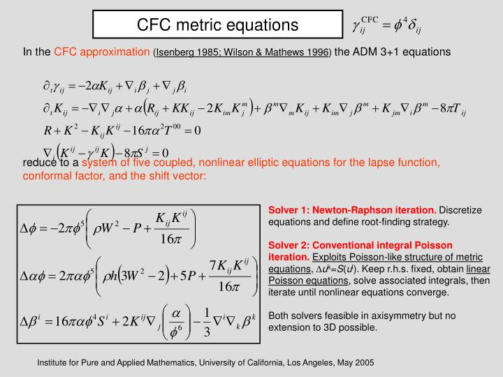 CFC metric equations