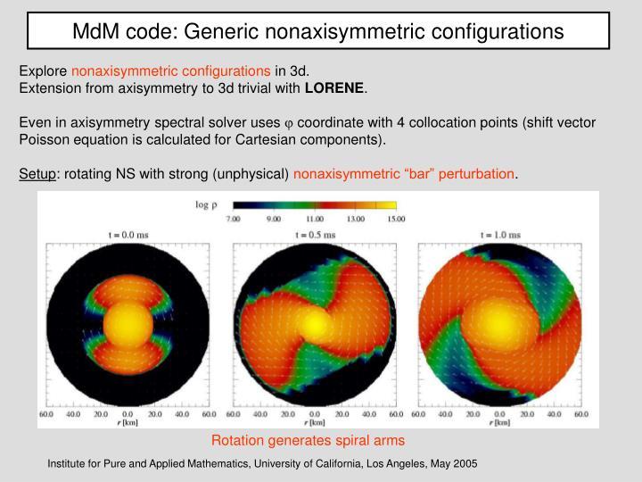 MdM code: Generic nonaxisymmetric configurations